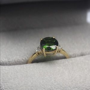 Chrome Diopside & Diamond Ring in 14k Yellow Gold
